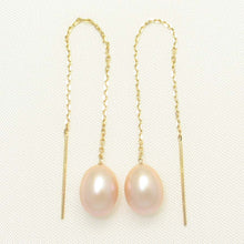 Load image into Gallery viewer, 14k Yellow Gold Threader Chain; Peach Raindrop Cultured Pearl Drop Earrings