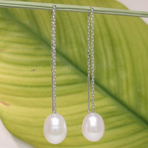 14k White Gold Threader Chain; White Raindrop Cultured Pearl Drop Earrings