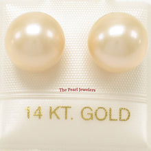 Load image into Gallery viewer, AAA 9.5-10mm High Luster Peach Cultured Pearl Stud Earrings 14k Yellow Gold