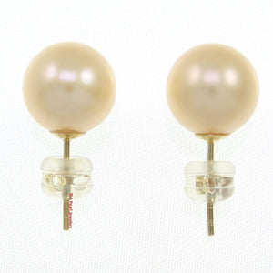 AAA 9.5-10mm High Luster Peach Cultured Pearl Stud Earrings 14k Yellow Gold