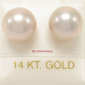 9.5-10mm High Luster Lavender Cultured Pearl Stud Earrings 14k Yellow Gold