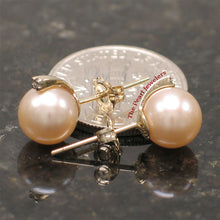 Load image into Gallery viewer, 14k-Yellow-Gold-Diamond-Genuine-Peach-Cultured-Pearl-Stud-Earrings