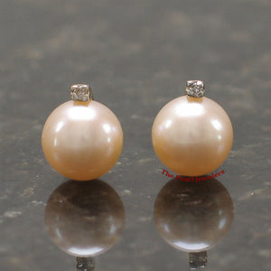 14k-Yellow-Gold-Diamond-Genuine-Peach-Cultured-Pearl-Stud-Earrings