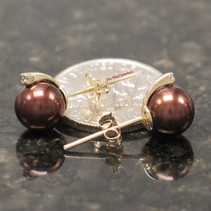 14k-Yellow-Gold-Diamond-Chocolate-Genuine-Cultured-Pearl-Stud-Earrings