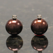 Load image into Gallery viewer, 14k-Yellow-Gold-Diamond-Chocolate-Genuine-Cultured-Pearl-Stud-Earrings
