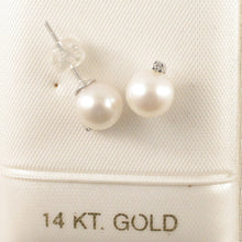 Load image into Gallery viewer, 14k-White-Gold-Diamond-Genuine-White-Cultured-Pearl-Stud-Earrings