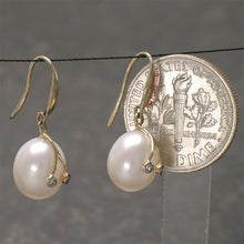 Load image into Gallery viewer, 14k-Yellow-Gold-Diamond-Genuine-White-Freshwater-Pearl-Hook-Earrings