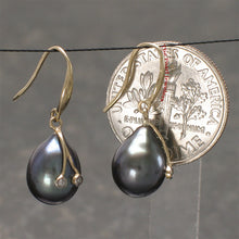 Load image into Gallery viewer, 14k-Yellow-Gold-Diamond-Black-Genuine-Freshwater-Pearl-Hook-Earrings