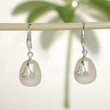 Load image into Gallery viewer, 14k-White-Gold-Diamond-Genuine-White-Freshwater-Pearl-Hook-Earrings