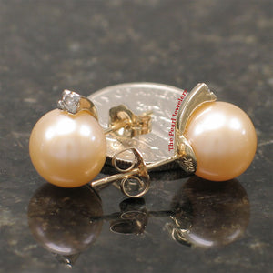 14k-Yellow-Gold-Diamonds-9-10mm-Pink-Cultured-Pearl-Stud-Earrings