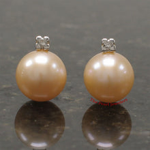 Load image into Gallery viewer, 14k-Yellow-Gold-Diamonds-9-10mm-Pink-Cultured-Pearl-Stud-Earrings