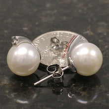 Load image into Gallery viewer, 14k-White-Gold-Diamonds-9-10mm-White-Cultured-Pearl-Stud-Earrings