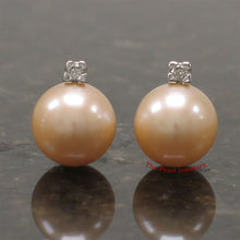 Load image into Gallery viewer, 14k-White-Gold-Diamonds-9-10mm-Pink-Cultured-Pearl-Stud-Earrings
