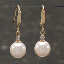Load image into Gallery viewer, 14k-Yellow-Gold-Diamond-White-Round-Cultured-Pearl-Hook-Earrings