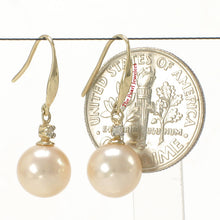 Load image into Gallery viewer, 14k-Yellow-Gold-Diamond-Peach-Round-Cultured-Pearl-Hook-Earrings