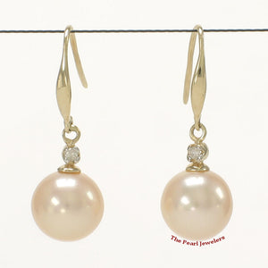 14k-Yellow-Gold-Diamond-Peach-Round-Cultured-Pearl-Hook-Earrings