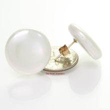 Load image into Gallery viewer, 1000960-14k-Yellow-Gold-Genuine-18mm-White-Coin-Pearl-Post-Stud-Earrings
