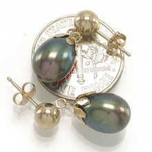 Load image into Gallery viewer, 14k-Yellow-Gold-Ball-Ring-Claws-Black-Freshwater-Pearl-Dangle-Earrings