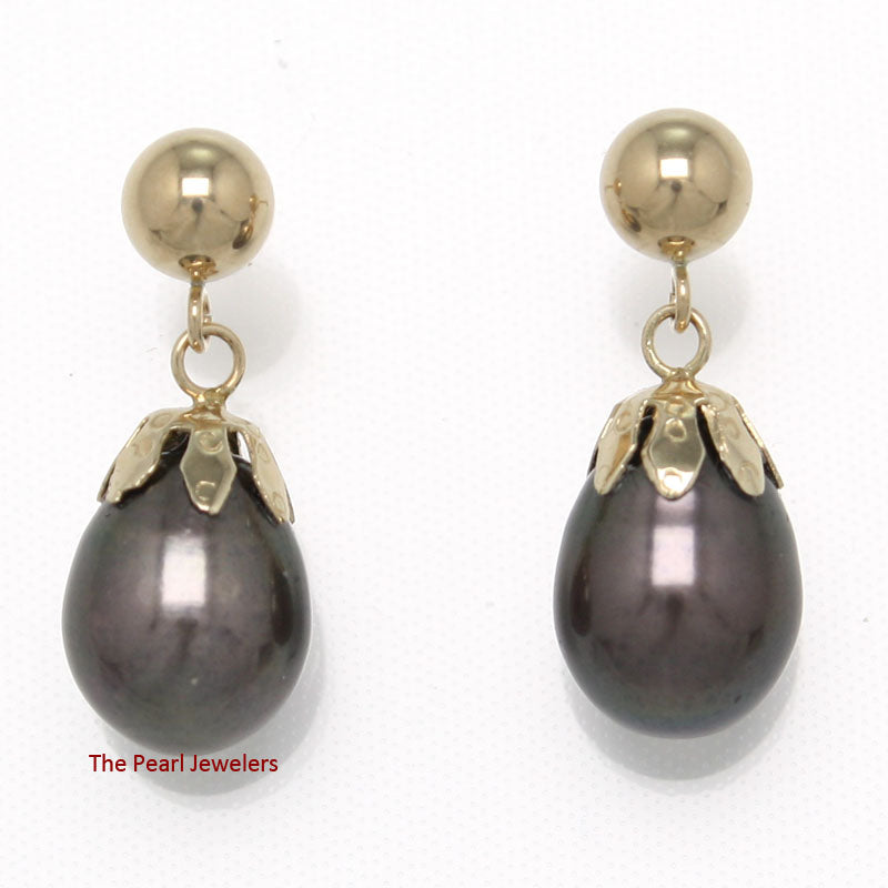 14k-Yellow-Gold-Ball-Ring-Claws-Black-Freshwater-Pearl-Dangle-Earrings
