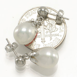 AAA White Cultured Pearl Dangle Earrings; 14k White Gold Ball-Ring & Claws