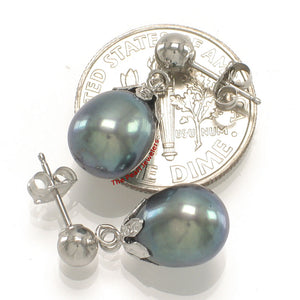 14k-White-Gold-Ball-Ring-Claws-Black-Freshwater-Pearl-Dangle-Earrings