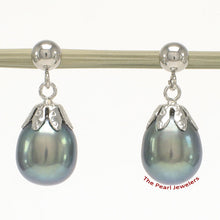 Load image into Gallery viewer, 14k-White-Gold-Ball-Ring-Claws-Black-Freshwater-Pearl-Dangle-Earrings