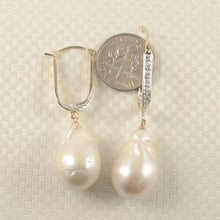 Load image into Gallery viewer, 14k-Yellow-Gold-Diamond-Large-Charming-Baroque-Pearl-Earrings