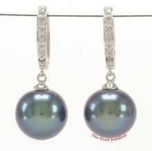Load image into Gallery viewer, 14k-White-Gold-Diamonds-C-Hoop-10.5mm-Black-Cultured-Pearl-Earrings