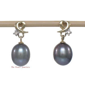 14k-Yellow-Gold-Diamonds-Black-Freshwater-Pearl-Dangle-Stud-Earrings