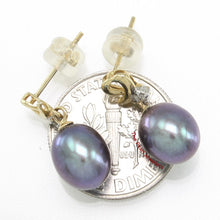 Load image into Gallery viewer, 14k-Yellow-Gold-Diamonds-Black-Freshwater-Pearl-Dangle-Stud-Earrings