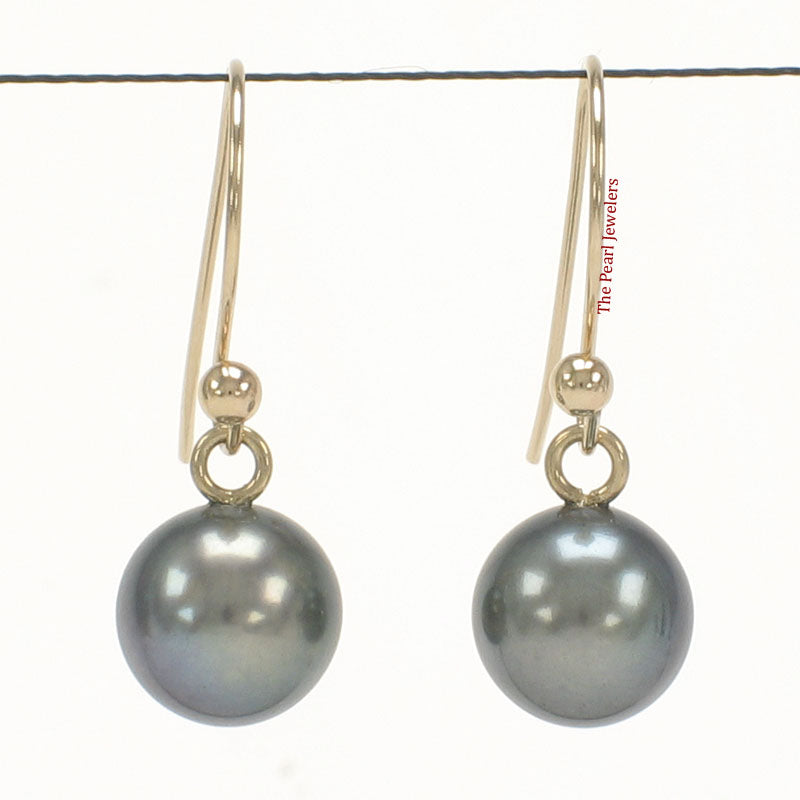 14k-Yellow-Gold-Fish-Hook-Gold-Ball-Black-Cultured-Pearl-Dangle-Earrings
