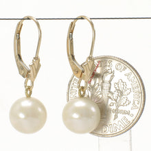Load image into Gallery viewer, 14k-Yellow-Gold-Leverback-Genuine-White-Cultured-Pearl-Dangle-Earrings
