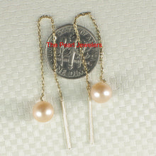 Load image into Gallery viewer, 14k-Yellow-Gold-Threader-Chain-Peach-Cultured-Pearl-Drop-Earrings