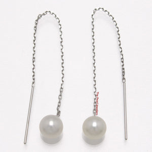 14k Solid White Gold Threader Chain; AAA White Cultured Pearl Drop Earrings