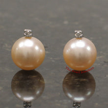 Load image into Gallery viewer, 14k-White-Gold-AAA-Peach-Cultured-Pearl-Diamond-Stud-Earrings