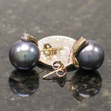Load image into Gallery viewer, 14k-Yellow-Gold-AAA-10.5-11mm-Black-Cultured-Pearl-Diamond-Stud-Earrings
