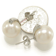 Load image into Gallery viewer, 14k-White-Gold-AAA-10.5-11mm-White-Cultured-Pearl-Diamond-Stud-Earrings