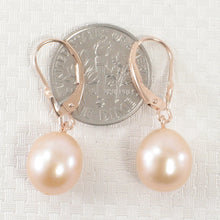 Load image into Gallery viewer, Pink Cultured Freshwater Pearl (9.5mm) Drop Earrings in 14k Rose Gold