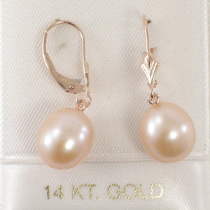 Pink Cultured Freshwater Pearl (9.5mm) Drop Earrings in 14k Rose Gold