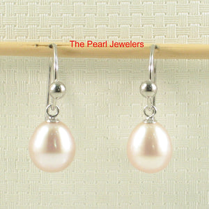 14k-White-Solid-Gold-Fish-Hook-Gold-Ball-Pink-Cultured-Pearl-Dangle-Earrings
