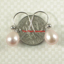 Load image into Gallery viewer, 14k-White-Solid-Gold-Fish-Hook-Gold-Ball-Pink-Cultured-Pearl-Dangle-Earrings