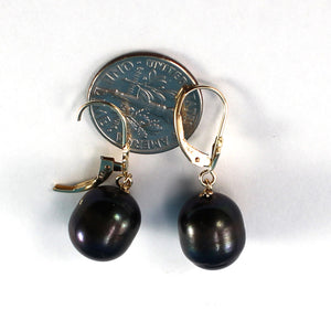 14k Yellow Gold Leverback Raindrop Black Genuine Cultured Pearl Dangle Earrings