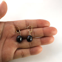 Load image into Gallery viewer, 14k Yellow Gold Leverback Raindrop Black Genuine Cultured Pearl Dangle Earrings