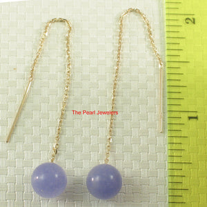 14k Yellow Solid Gold Threader Chain; lavender or Green Jade Dangle Earrings