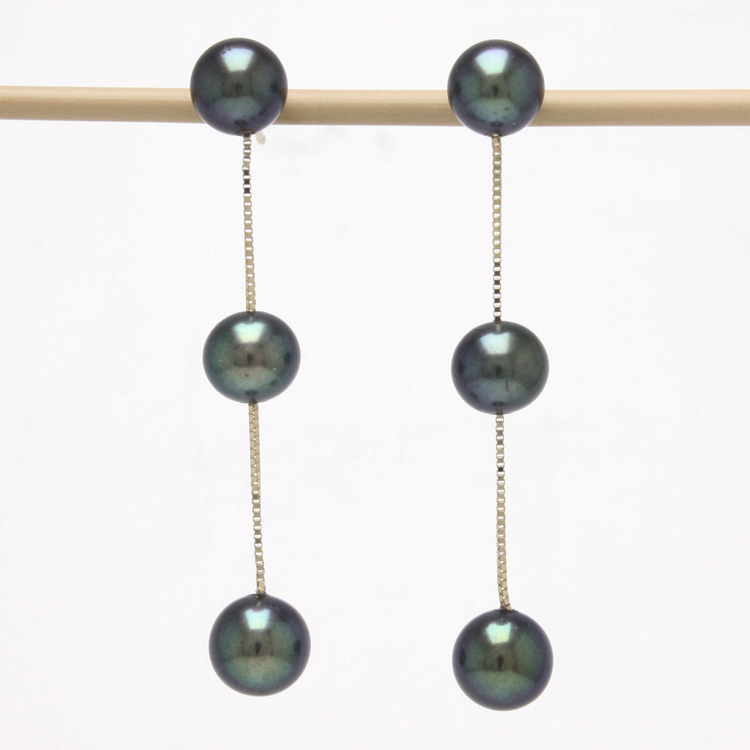 14k Solid Yellow Gold TinCup Design Dangle Black Cultured Pearl Earrings