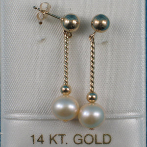 14k Yellow Gold 5mm Ball Twist Tube Tin-Cup Peach Cultured Pearl Earrings