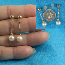 Load image into Gallery viewer, 14k Yellow Gold 5mm Ball Twist Tube Tin-Cup Peach Cultured Pearl Earrings
