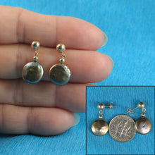 Load image into Gallery viewer, 14k Yellow Gold 5mm Ball; Gray-Green Coin Cultured Pearl Dangle Earrings
