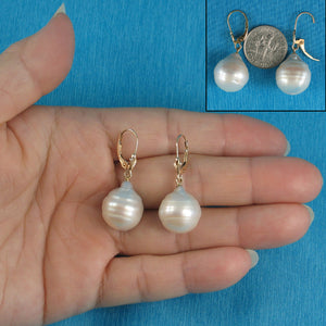 Baroque White Nucleated Pearls 14k Yellow Gold Leverback Dangle Earrings