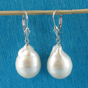 14k White Gold Leverback; White Nucleated Baroque Cultured Pearls Dangle Earrings